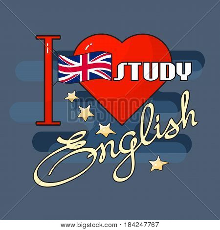 I love Study English icon. Flag, heart and handwritten word. Vector illustration for  promotion, greeting card and poster. English language day concept.