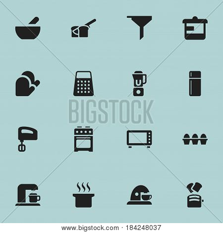 Set Of 16 Editable Cooking Icons. Includes Symbols Such As Agitator, Stove, Filtering And More. Can Be Used For Web, Mobile, UI And Infographic Design.