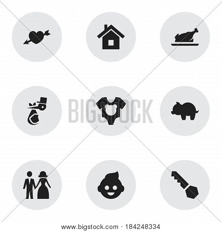 Set Of 9 Editable Family Icons. Includes Symbols Such As Bodysuit, Moneybox, Lock And More. Can Be Used For Web, Mobile, UI And Infographic Design.