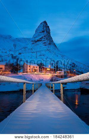 Winter landscape of the Reine fishing village in the Lofoten islands