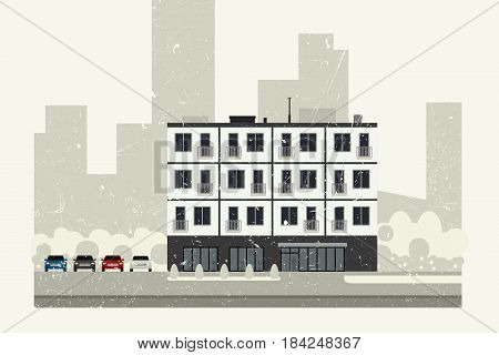 Condominium building with grunge texture. Vector banner of apartment house.