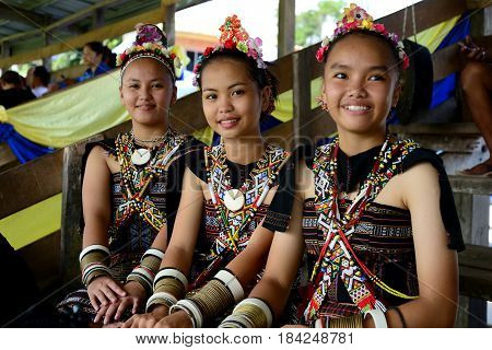 KUDAT, SABAH MALAYSIA - APRIL 22, 2017: Young girls from Rungus ethnic wearing a traditional costume during Rungus Kiansamung festival in Tinangol village, Matunggong.