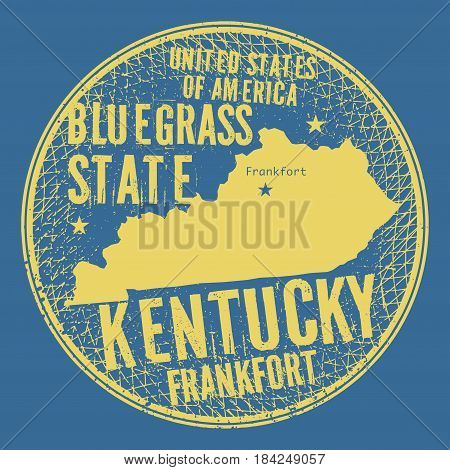 Grunge vintage round stamp or label with text Frankfort Kentucky Bluegrass state vector illustration