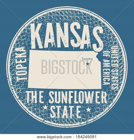 Grunge vintage round stamp or label with text Topeka Kansas The Sunflower state vector illustration