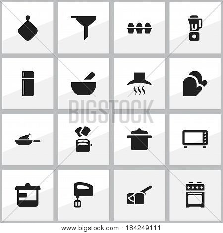 Set Of 16 Editable Food Icons. Includes Symbols Such As Egg Carton, Slice Bread, Bakery And More. Can Be Used For Web, Mobile, UI And Infographic Design.