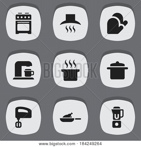 Set Of 9 Editable Cooking Icons. Includes Symbols Such As Drink Maker, Cookware, Soup Pot And More. Can Be Used For Web, Mobile, UI And Infographic Design.