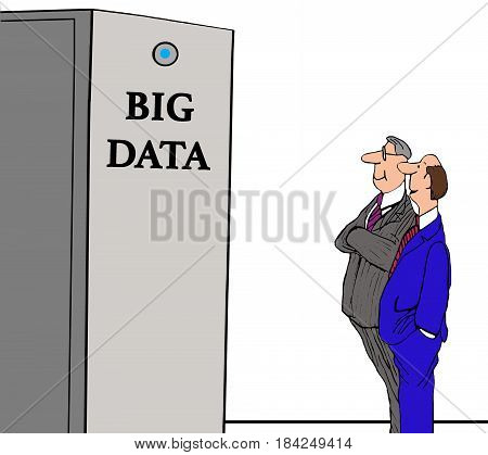 Technology humorous illustration showing two men looking at a huge data processor of big data.