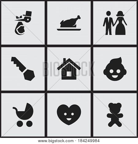 Set Of 9 Editable Kin Icons. Includes Symbols Such As Child, Perambulator, Fried Chicken And More. Can Be Used For Web, Mobile, UI And Infographic Design.