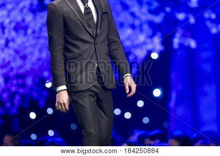Fashion Show Runway Beautiful Model In Suit