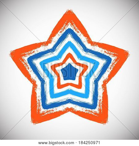 Painted star vector. Five-angle shape from blue orange brush strokes. Abstract geometric pattern. Intricate circle ornament for logo, emblem. Unusual mandala background. Bright grunge illustration.