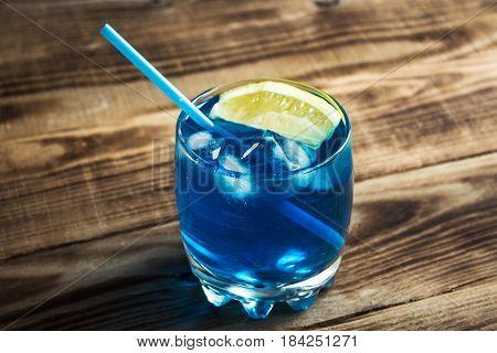 Light Blue Alcoholic Drink Curacao Liqueur
