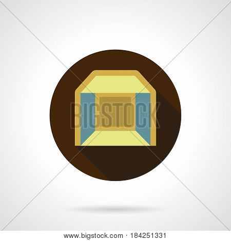 Symbol of folded pavilion for indoors commercial or exhibition events. Empty yellow cubicle. Round flat design vector icon.