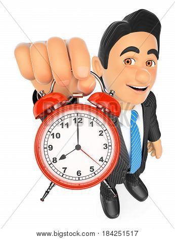 3d business people illustration. Businessman holding an alarm clock. Isolated white background.
