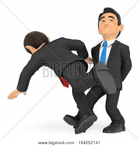 3d business people illustration. Businessman making the trip up to a workmate. Isolated white background.