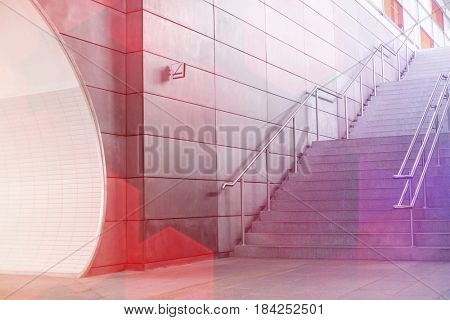 Stairway in railroad station