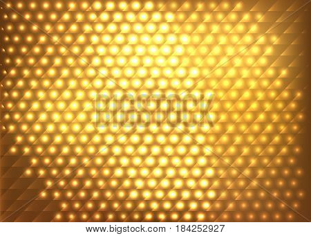 Gold glow geometric abstract background. Vector illustration.