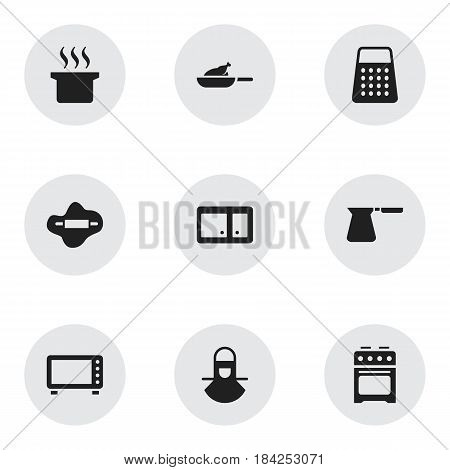 Set Of 9 Editable Food Icons. Includes Symbols Such As Oven, Shredder, Stove And More. Can Be Used For Web, Mobile, UI And Infographic Design.