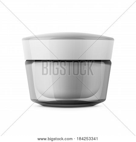 Round clear glossy cosmetic jar for body cream, butter, scrub, gel, powder Realistic packaging mockup template. Front view. Vector illustration.