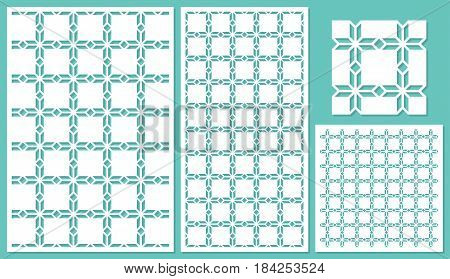 Set of decorative panels laser cutting. Template geometric pattern. The ratio of 2: 3, 1: 2, 1: 1, seamless. Vector illustration.