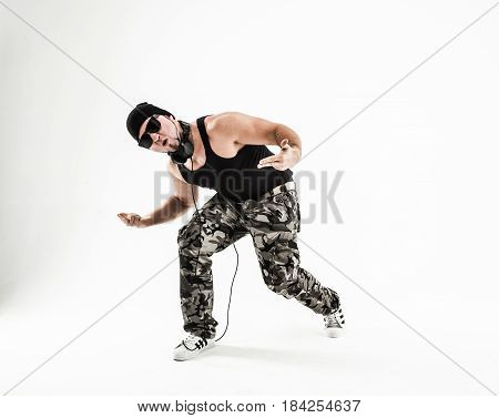 best rapper dancing break dance .photo on a light background. the photo has a empty space for your text