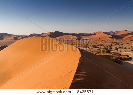 View from a peak of a dune at Sossusvlei Namibia Africa