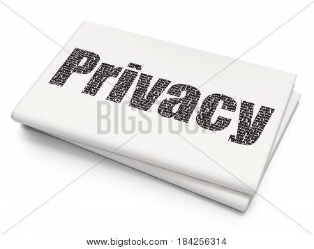 Safety concept: Pixelated black text Privacy on Blank Newspaper background, 3D rendering