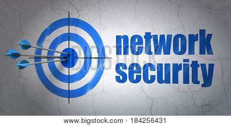 Success safety concept: arrows hitting the center of target, Blue Network Security on wall background, 3D rendering