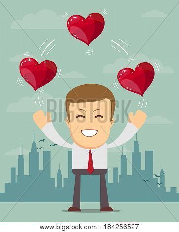 Business man juggling hearts . Stock vector illustration