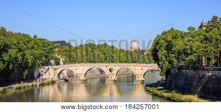 Bridge Over Tiber River - Rome, Italy