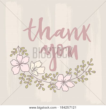 Vector thank you card with flowers and Complex background.