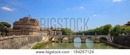 Saint Angelo Bridge Over Tiber River - Rome, Italy