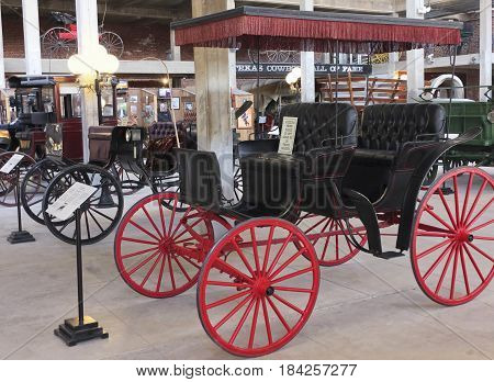FORT WORTH, TEXAS, MARCH 15. The Texas Cowboy Hall of Fame on March 15, 2017, in Fort Worth, Texas. A Surrey Carriage at the Texas Cowboy Hall of Fame in the Fort Worth Stockyards in Fort Worth, Texas.