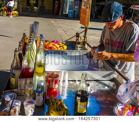 Palermo 12 August 2016 - ITALY: characteristic cart for the preparation of drink with crushed ice and syrup