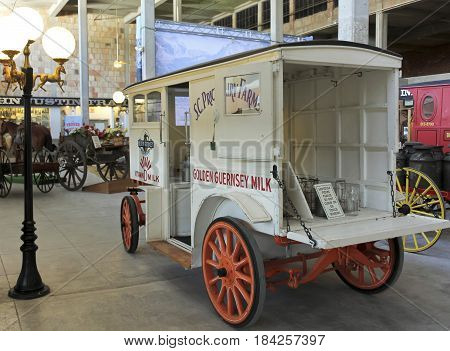 FORT WORTH, TEXAS, MARCH 15. The Texas Cowboy Hall of Fame on March 15, 2017, in Fort Worth, Texas. A Vintage Milk Wagon at the Texas Cowboy Hall of Fame in the Fort Worth Stockyards in Fort Worth, Texas.