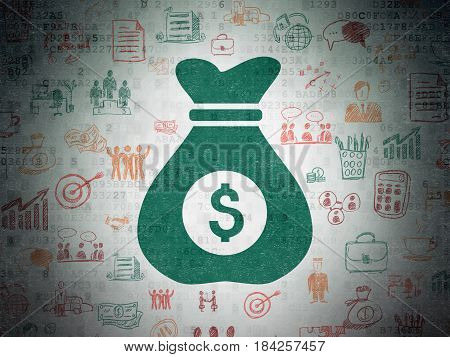 Business concept: Painted green Money Bag icon on Digital Data Paper background with  Hand Drawn Business Icons