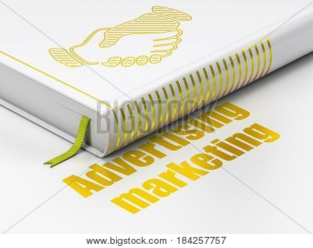 Business concept: closed book with Gold Handshake icon and text Advertising Marketing on floor, white background, 3D rendering