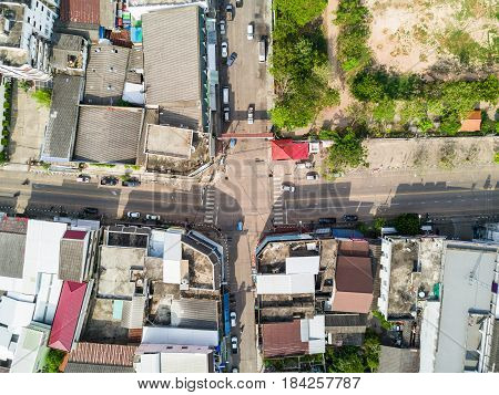 Aerial view from drone of four-way intersection in Mukdahan Thailand