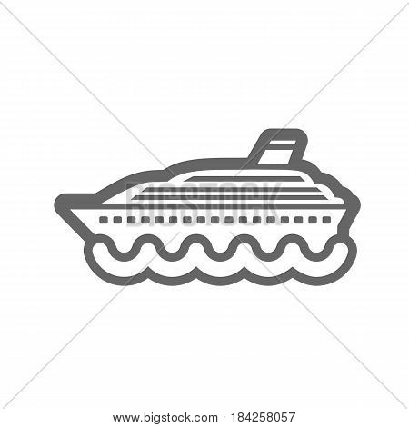 Cruise transatlantic liner outline vector icon. Beach. Summer. Summertime. Vacation eps 10