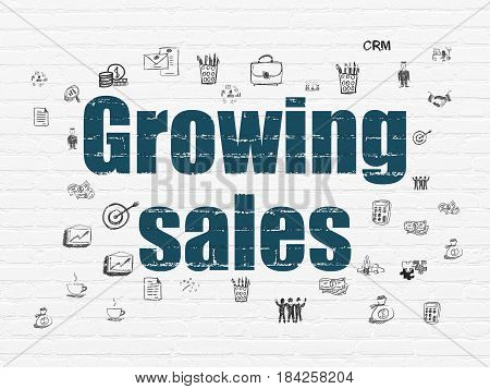 Business concept: Painted blue text Growing Sales on White Brick wall background with  Hand Drawn Business Icons