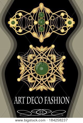 Luxurious art deco brooch with green gems emerald, fashion in victorian style, antique jewel, vector EPS 10