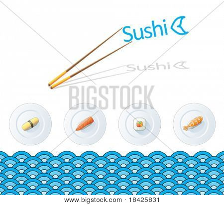Vector illustration with sushi plates