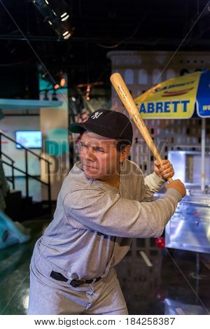 NEW YORK USA - SEPTEMBER 27 2013: Babe Ruth wax figure at Madame Tussauds wax museum in New York