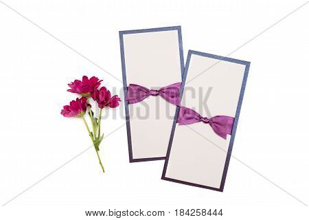 handmade cards with purple satin tape isolated on white background