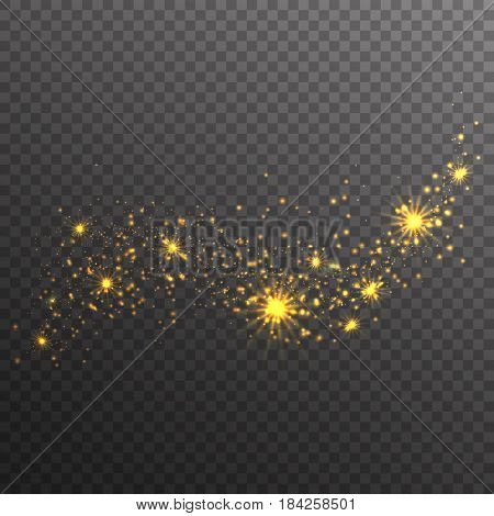 Gold glitter sparkles wave isolated on transparent background. Vector golden dust texture. Twinkling confetti shimmering star lights.