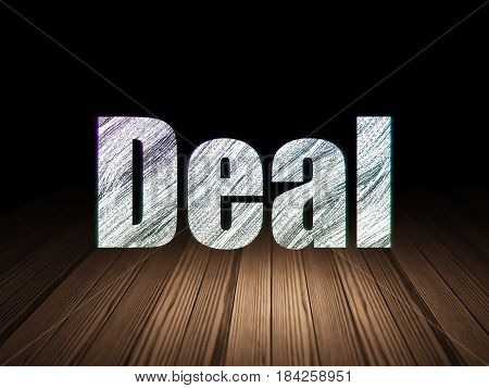 Finance concept: Glowing text Deal in grunge dark room with Wooden Floor, black background
