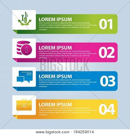 Vector Illustration. An Infographic Template With 4 Steps And An Image Of Four Rectangles. Use For B