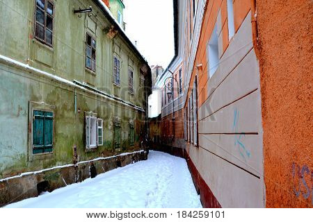 Typical urban landscape of the city Brasov, Transylvania Brasov is a town situated in Transylvania, Romania, in the center of the country. 300.000 inhabitants