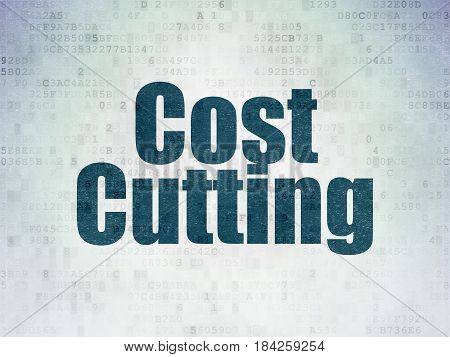 Finance concept: Painted blue word Cost Cutting on Digital Data Paper background