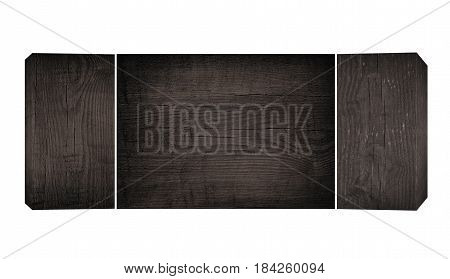 Old black wooden planks and flat cutting, chopping board with copy space.