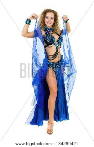 Belly dancer woman, isolated on white background in full length.